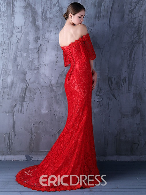 Ericdress Off-the-Shoulder Beading Lace Mermaid Evening Dress With Short Sleeves