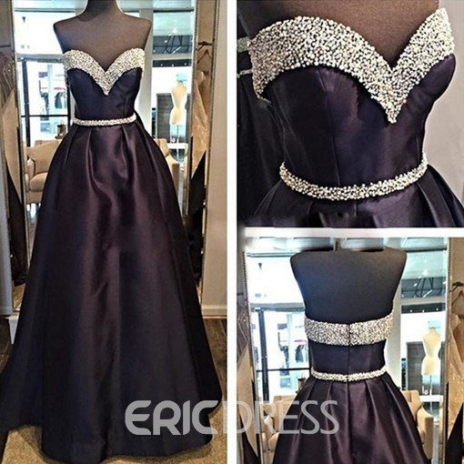 Ericdress A Line Crystal Beaded Sweetheart Evening Dress