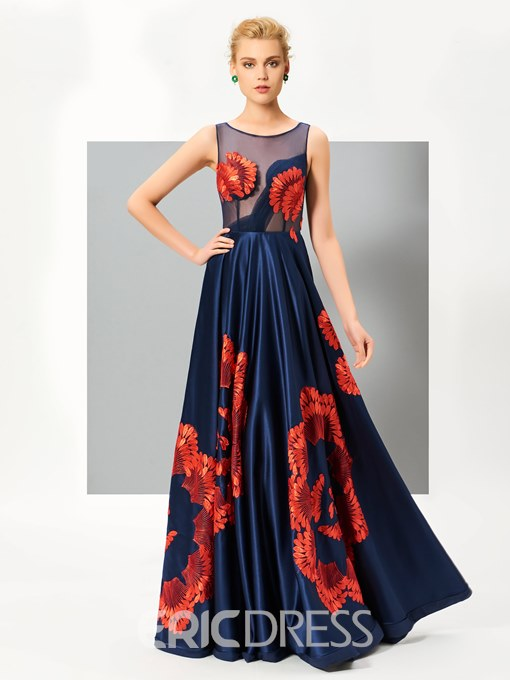 Ericdress Unique A Line Scoop Neck Floor Length Evening Dress With Embroidery Pattern