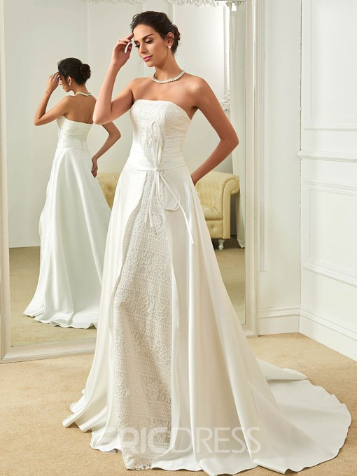 Ericdress Fancy Strapless A Line Lace Wedding Dress