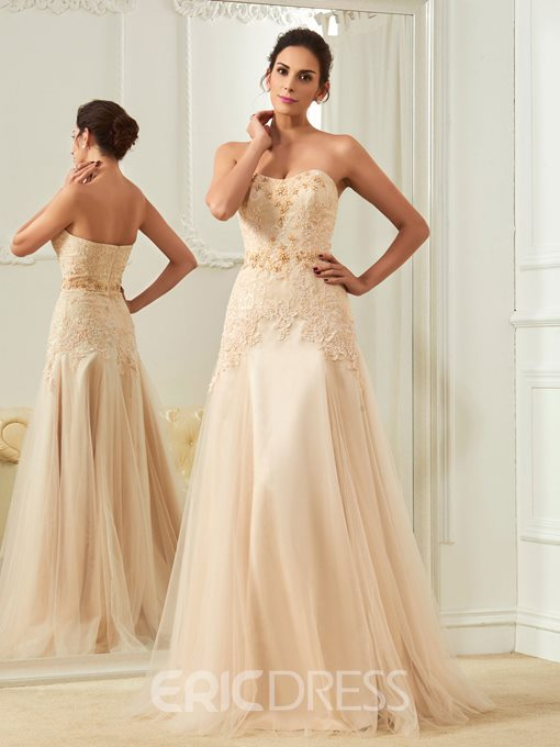 Ericdress Fancy Sweetheart Appliques Beaded A Line Wedding Dress