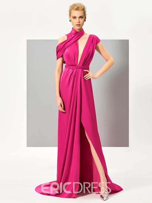 Ericdress Chic Design Cap Sleeve Slit Front Backless Evening Dress