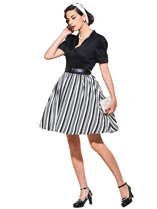Ericdress Stand Collar Short Sleeve Vintage A Line Dress