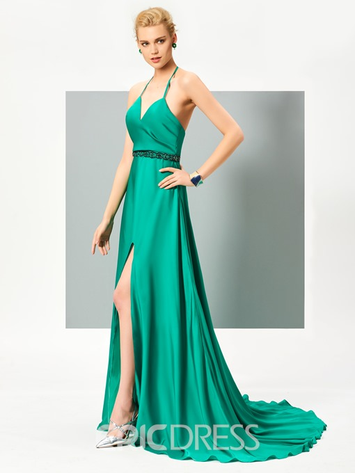 Ericdress Sexy Halter Beaded Backless Evening Dress With Side Slit