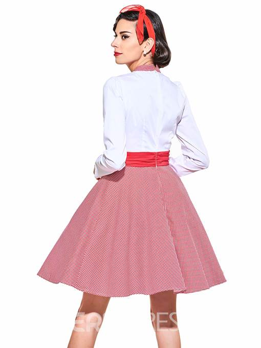 Bow Collar Long Sleeve Vintage Dress