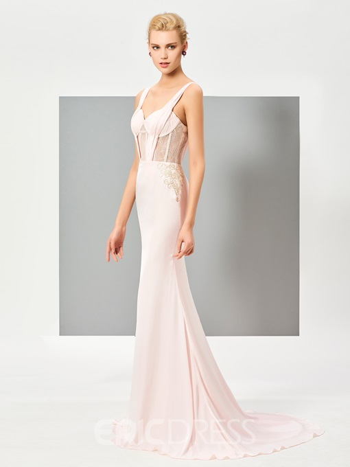 Ericdress Sexy Straps Sleeveless Sweep Train Mermaid Evening Dress