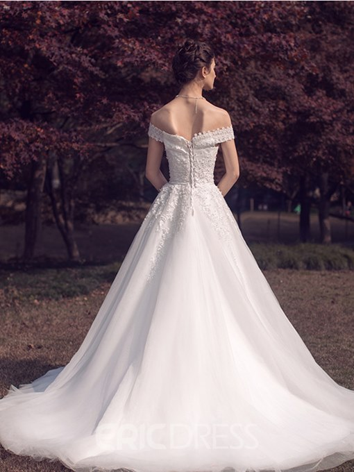 Ericdress Elegant Off The Shoulder Appliques Beaded A Line Wedding Dress