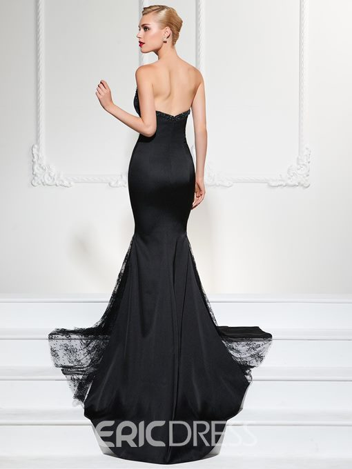 Ericdress Classic Black Beaded Sweetheart Court Train Evening Dress