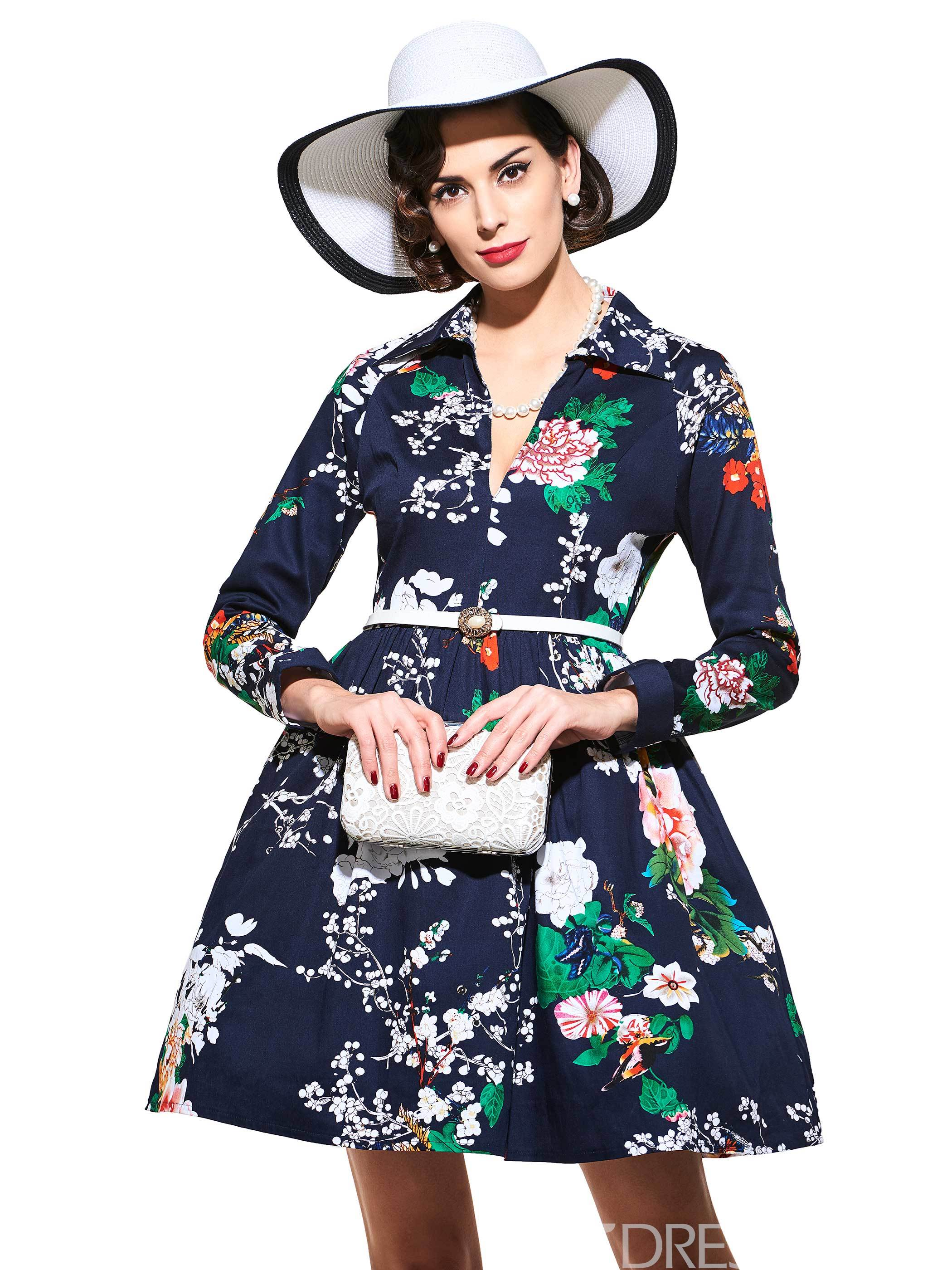 Lapel Long Sleeve Print Vintage Dress