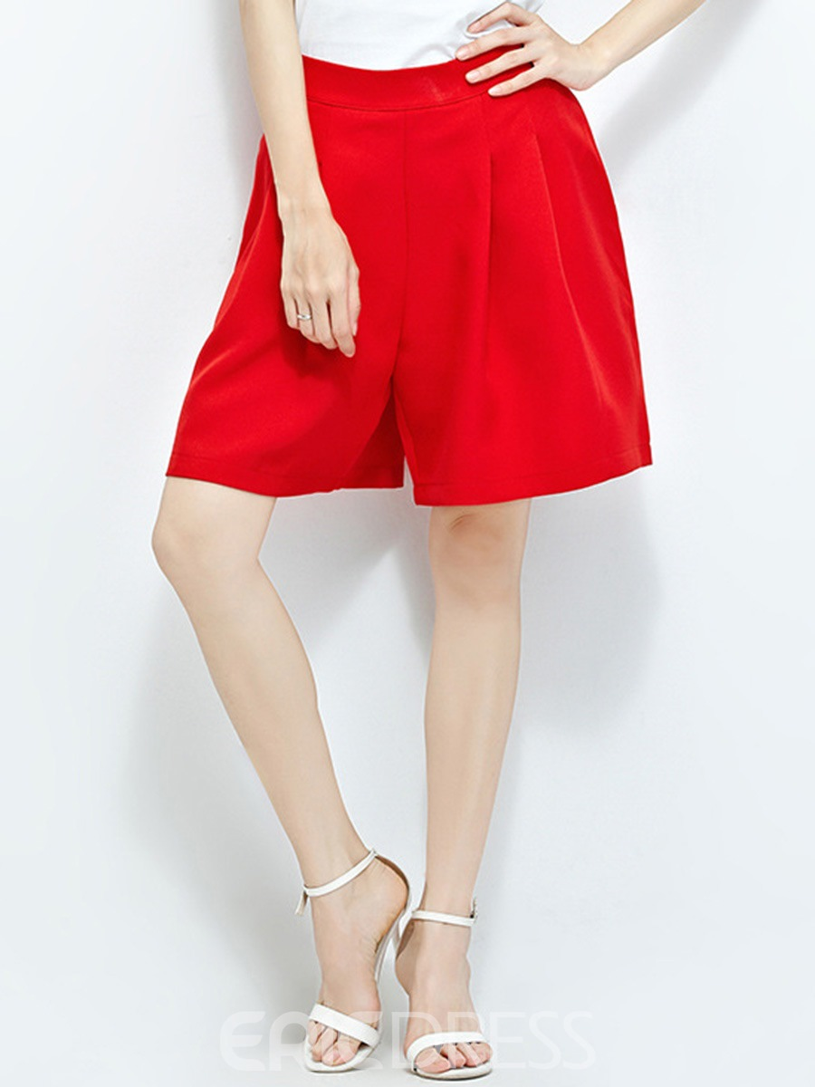 Ericdress Elastics Pure Color Shorts Pants