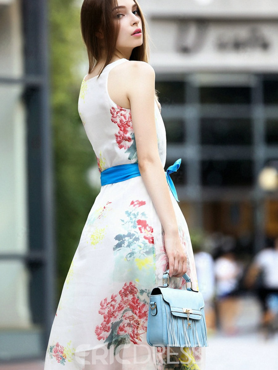 Ericdress Delicate Floral Bowknot Sleeveless Casual Dress