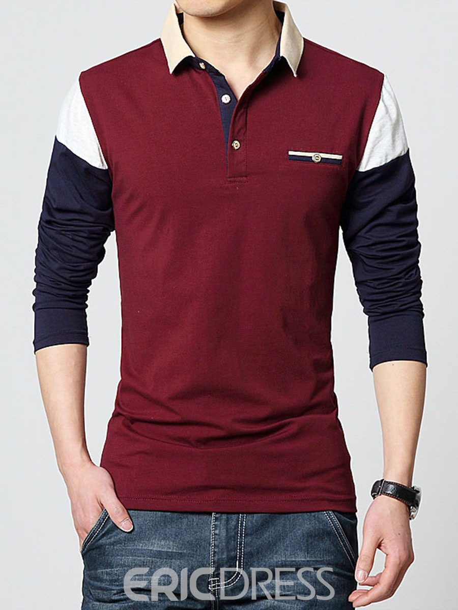 Ericdress Color Block Pullover Long Sleeve Men's T-Shirt