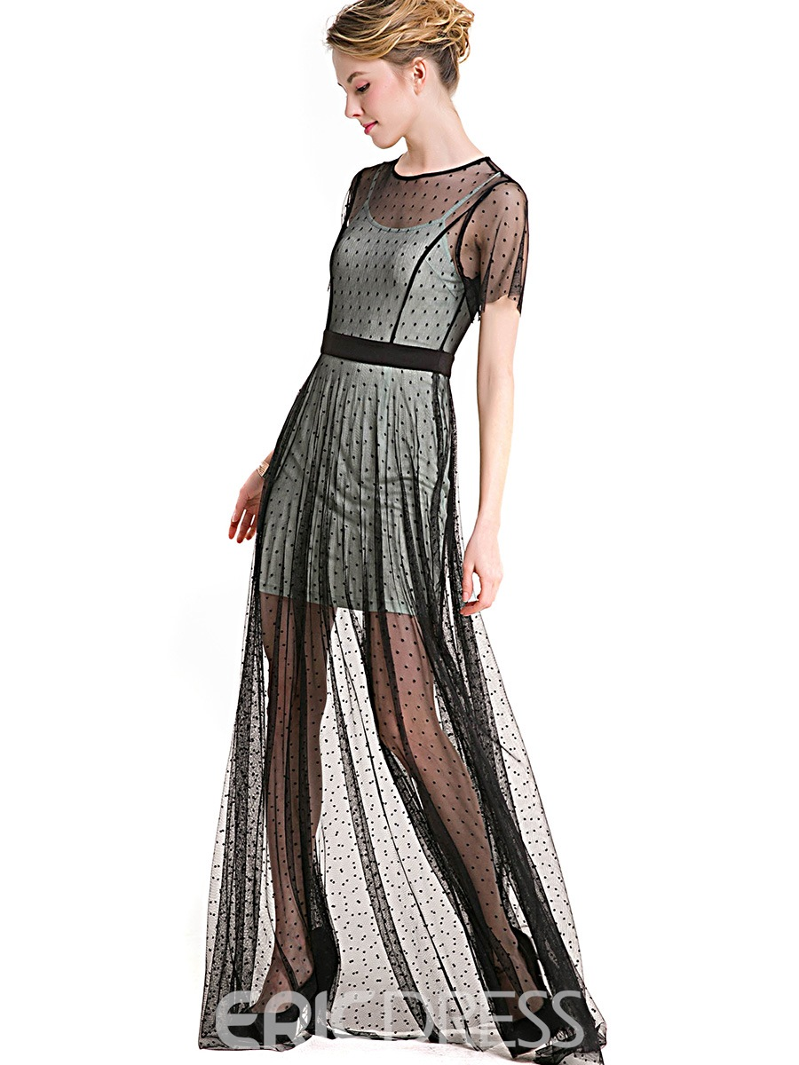 Ericdress Polka Dots Patchwork Mesh Maxi Dress