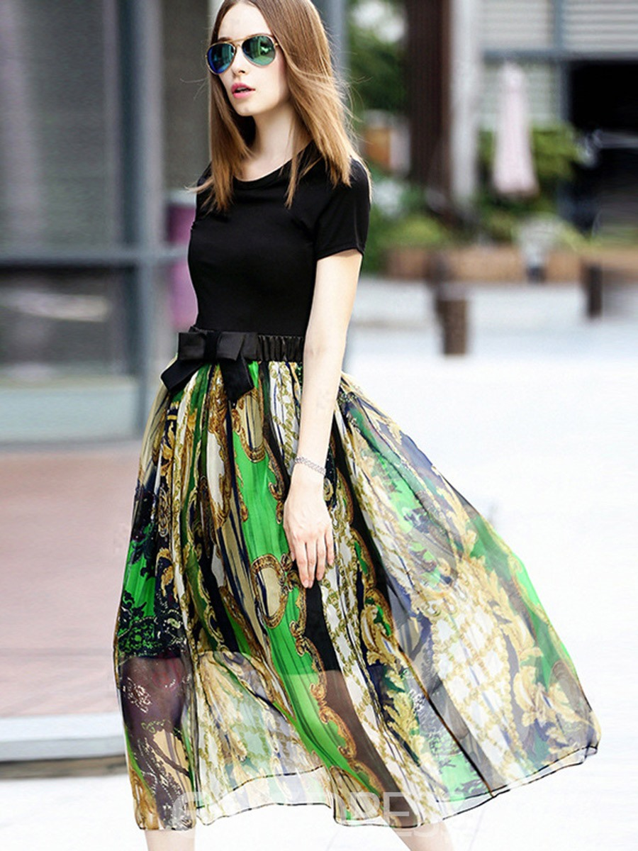Ericdress See-Through Scoop Expansion Maxi Dress