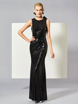 Ericdress Sheath Jewel Neck Bowknot Button Sequins Long Evening Dress