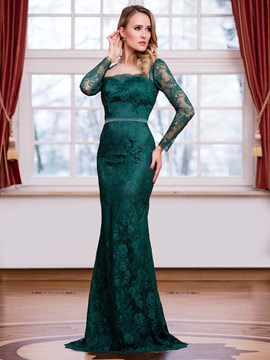 Ericdress Sheath Long Sleeve Open Back Floor Length Lace Long Evening Dress