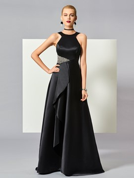 Ericdress A Line Scoop Neck Beaded Sequin Zipper-Up Floor Length Evening Dress