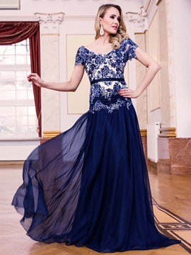 Ericdress A Line Cap Sleeve Lace Applique Deep Back Long Evening Dress