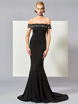 Ericdress Off The Shoulder Beaded Long Mermaid Evening Dress With Court Train