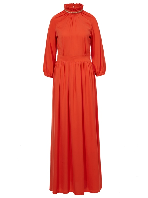 Ericdress Stand Collar Bead Pleated Patchwork Maxi Dress