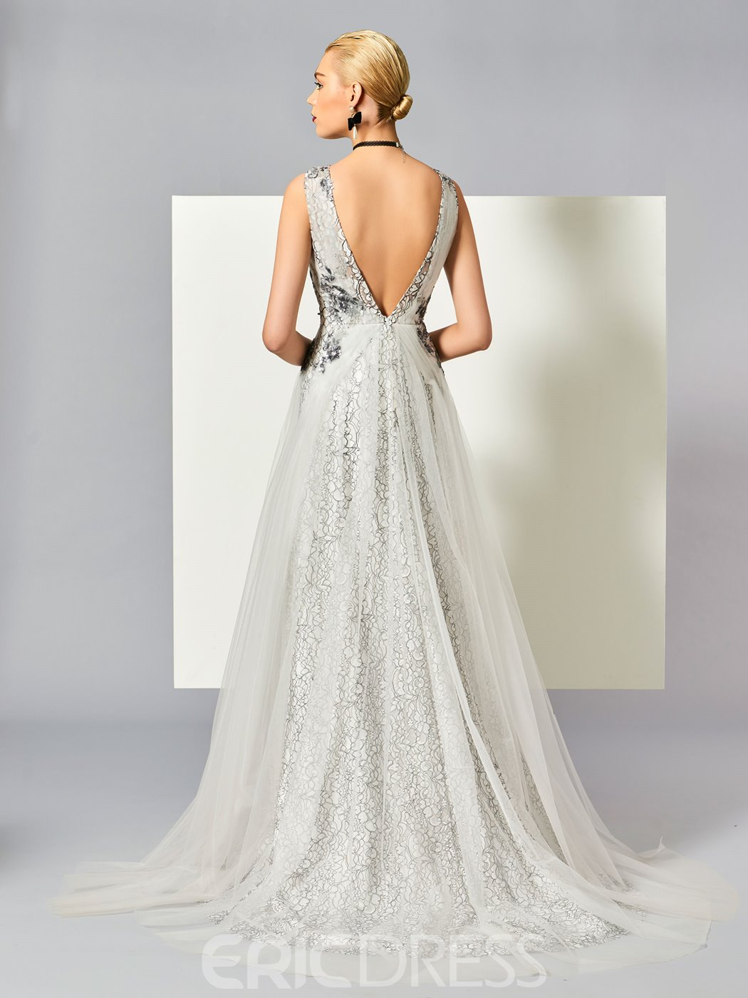 Ericdress A-Line Scoop Appliques Lace Sweep Train Evening Dress