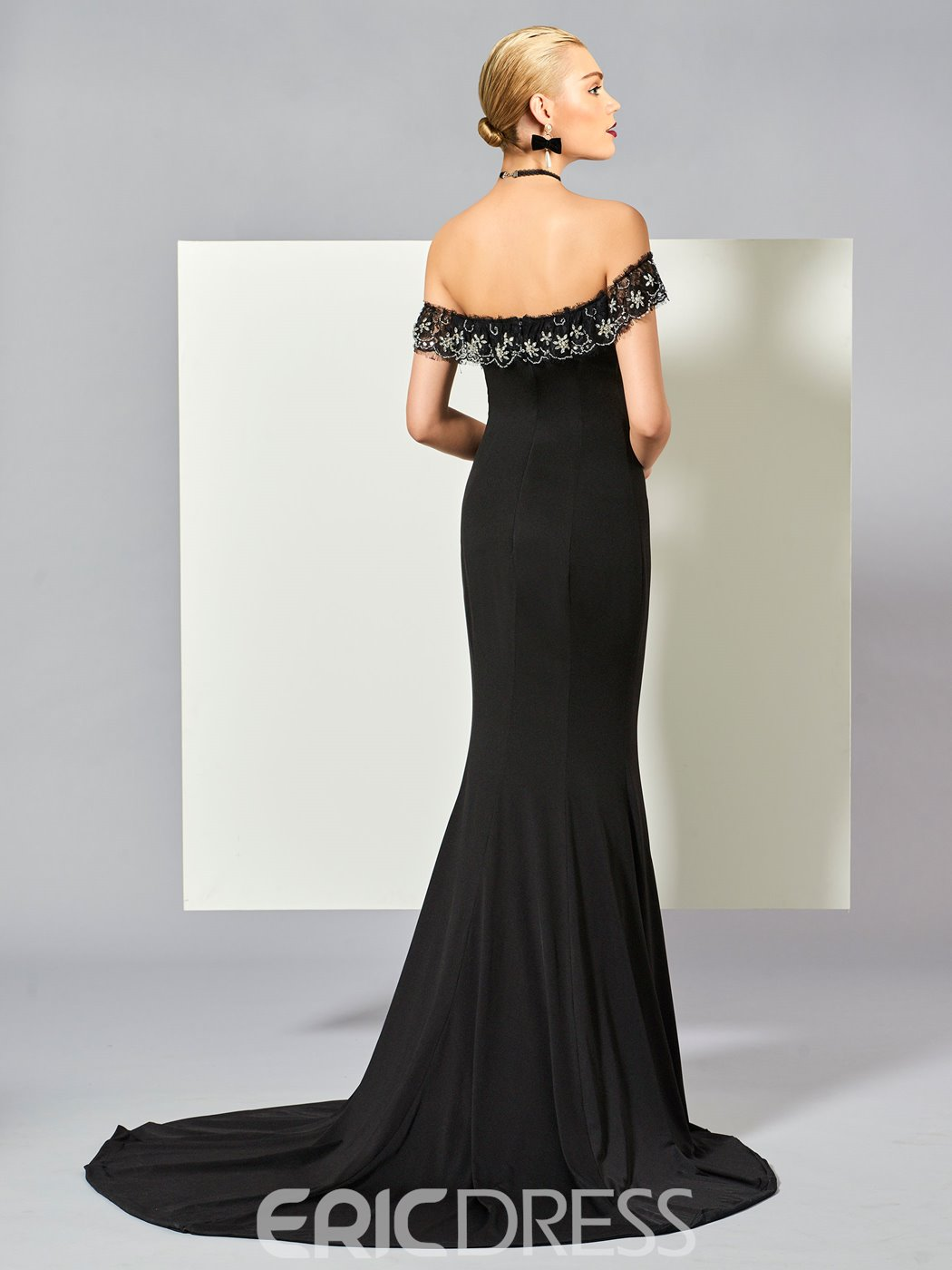 Ericdress Off The Shoulder Beaded Mermaid Evening Dress With Court Train