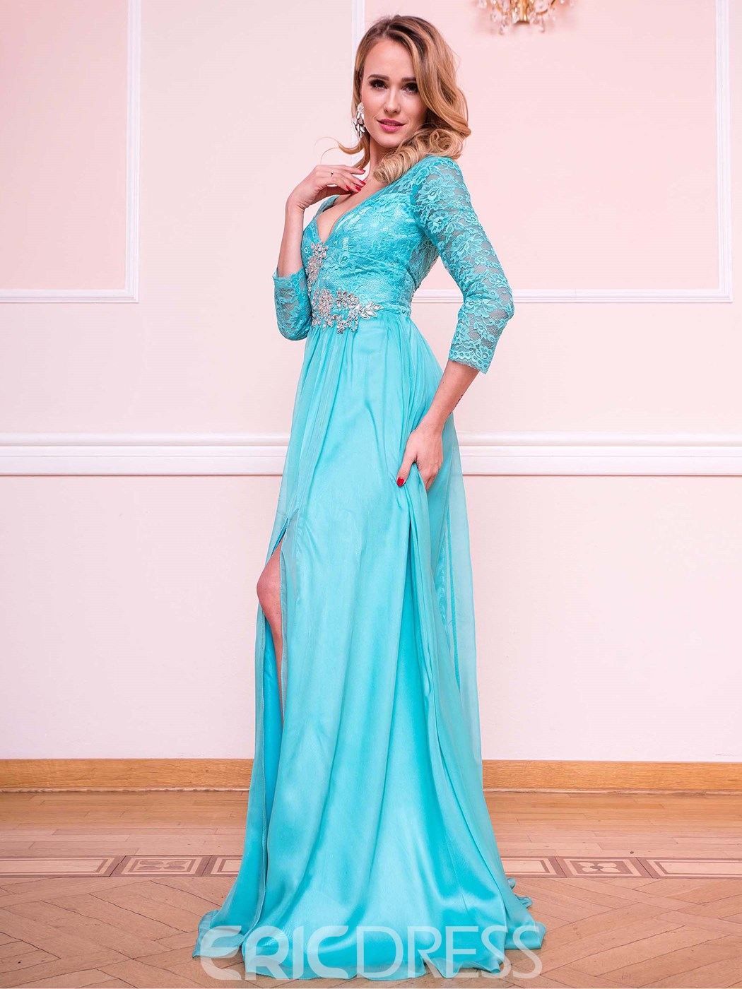Ericdress A Line 3/4 Sleeve Empire Side Slit Beaded Lace Evening Dress