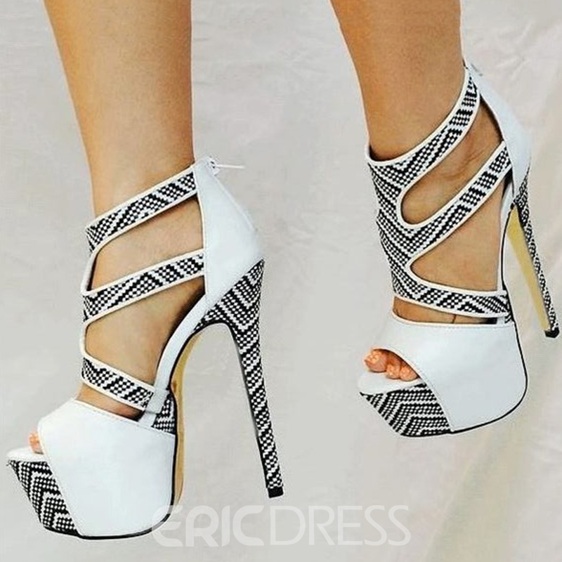 Ericdress Hollow Platform Color Block Stiletto Sandals