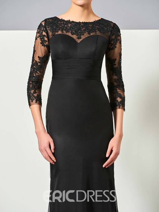 Ericdress Fancy Sheath 3/4 Sleeve Lace Applique Floor Length Evening Dress