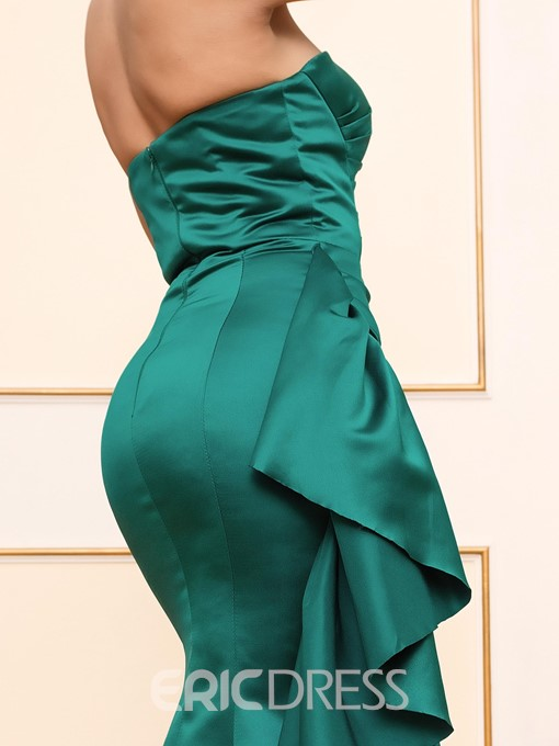 Ericdress Sheath/Column Strapless Ruffles Floor Length Evening Dress