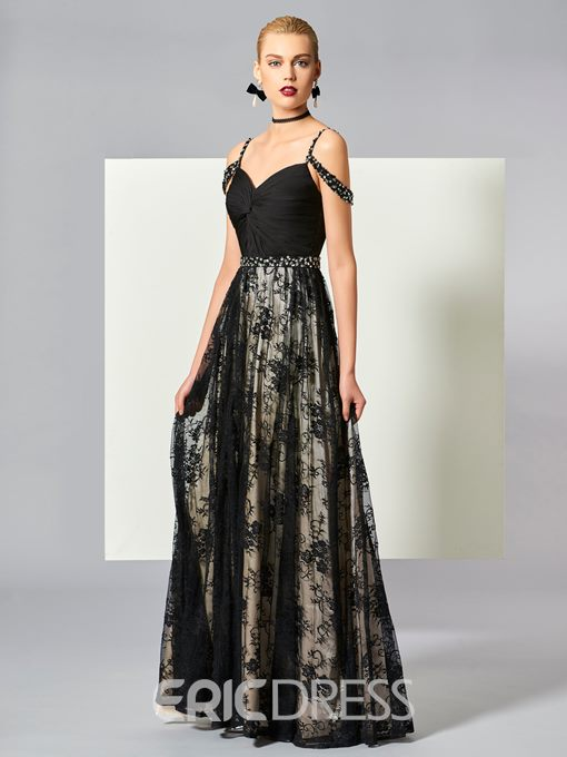 Ericdress A Line Off The Shoulder Straps Beaded Lace Floor Length Evening Dress