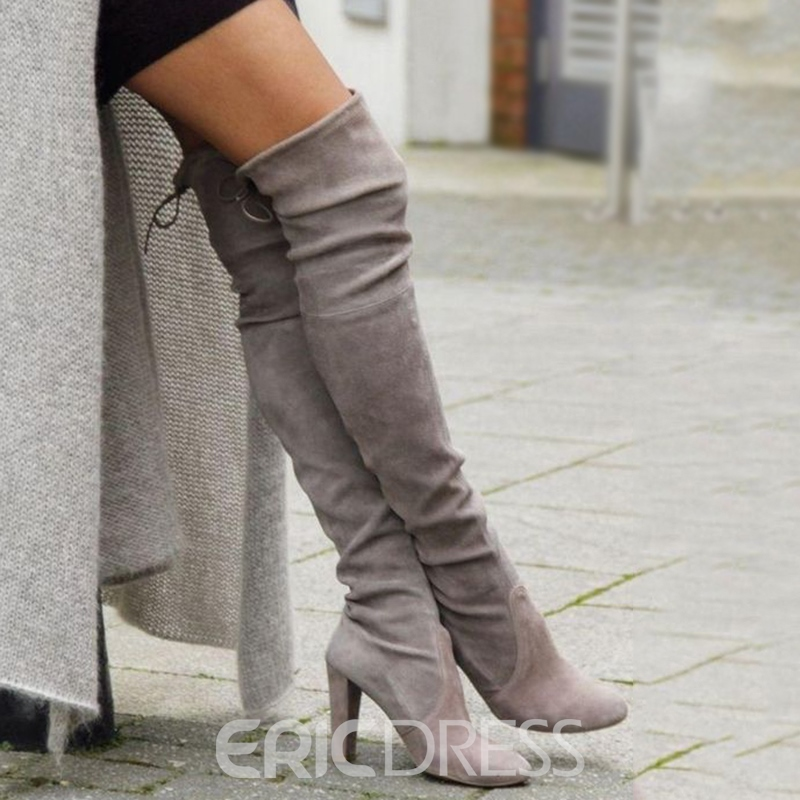 Ericdress Classic Chunky Heel Plain Lace-Up Thigh High Boots