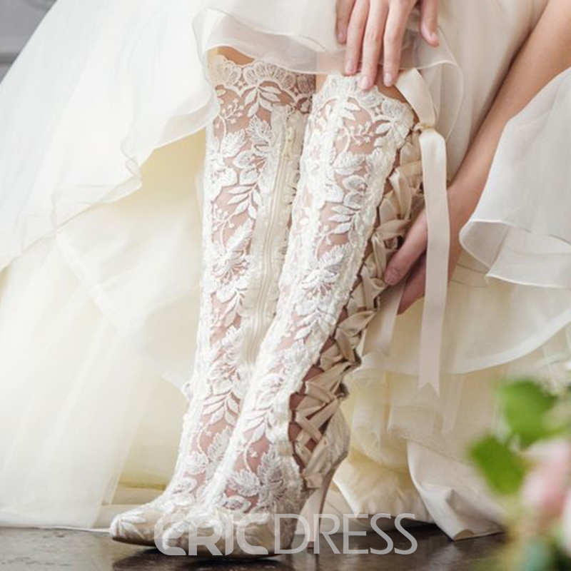 Ericdress Cross Strap Side Zipper Lace Women's Wedding Boots