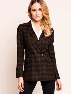 Ericdress Slim Plaid Double-Breasted Blazer