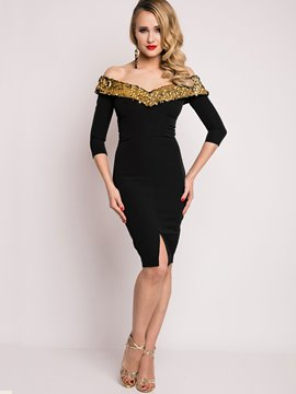 Ericdress V-Neck Sequins Split Sheath Dress