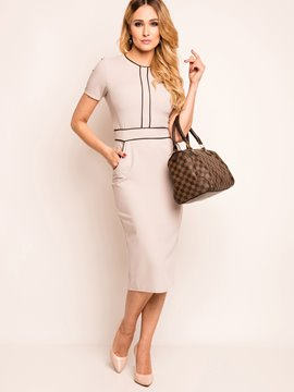 Ericdress Short Sleeve Patchwork Pocket Sheath Dress