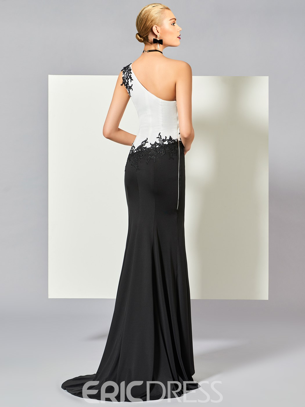 Ericdress Sheath One Shoulder Applique Evening Dress With Sweep Train