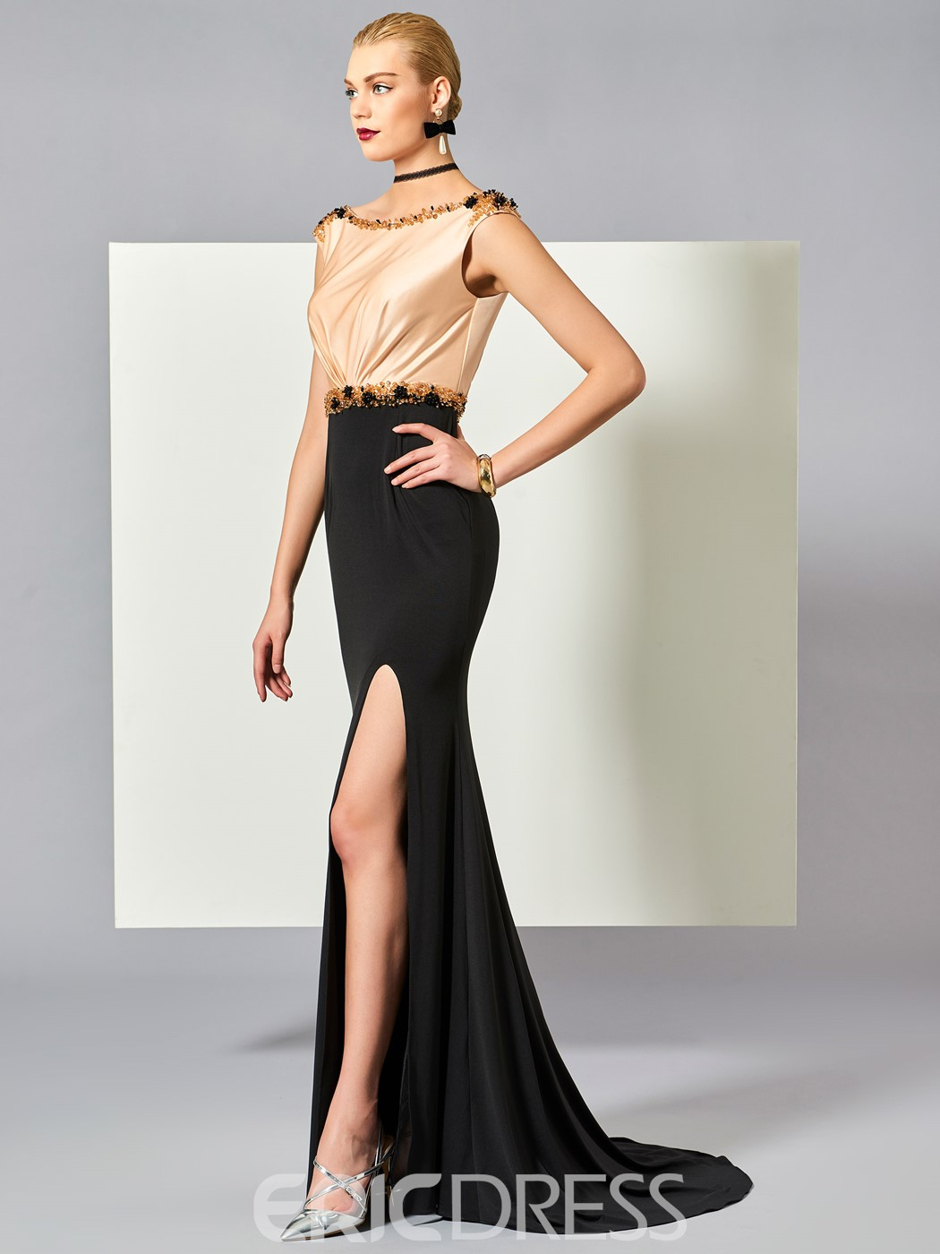 Ericdress Cap Sleeve Beaded Slit Side Deep Back Evening Dress With Sweep Train
