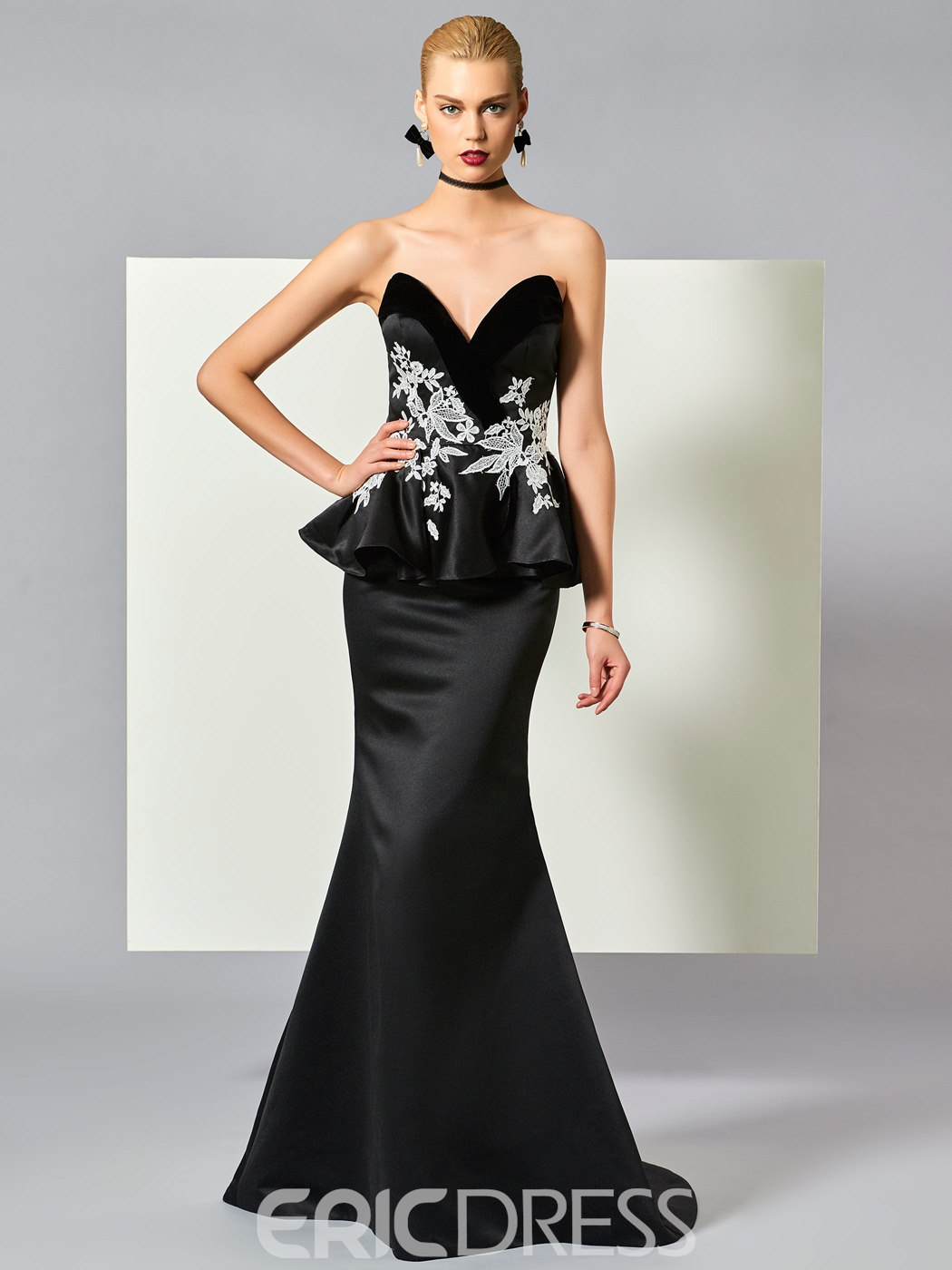 Ericdress Sexy Sweetheart Appliques Sweep Train Mermaid Evening Dress