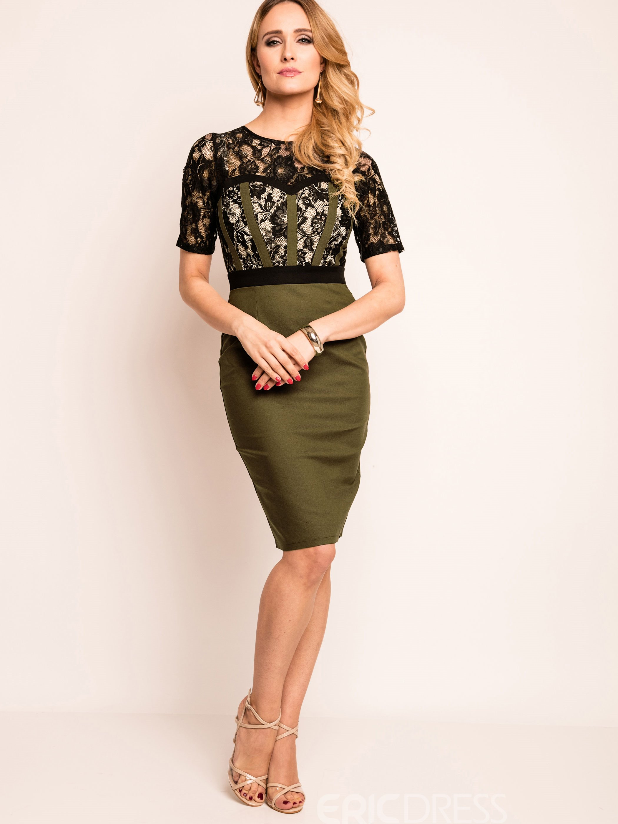 Ericdress Color Block Short Sleeve Lace Bodycon Dress