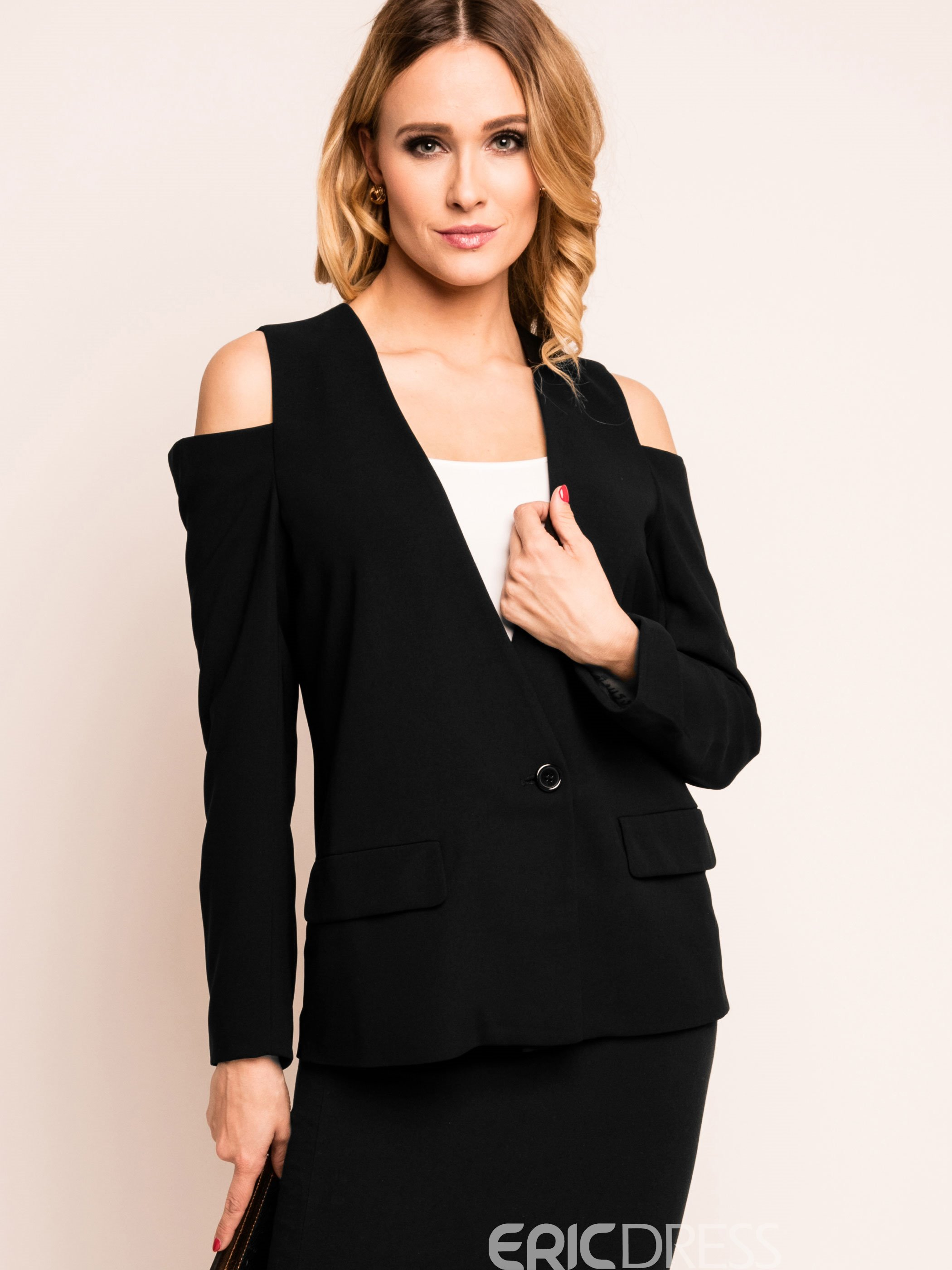 Ericdress V-Neck Off-Shoulder Blazer