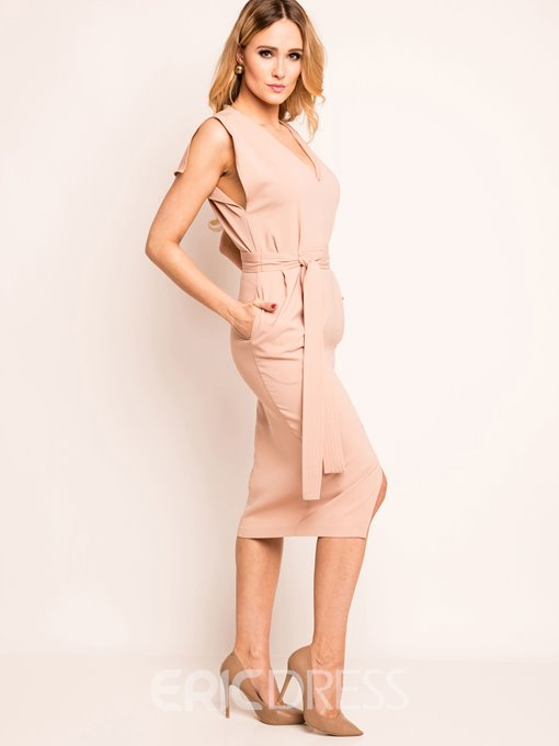 Ericdress Plain V-Neck Zipper Bodycon Dress