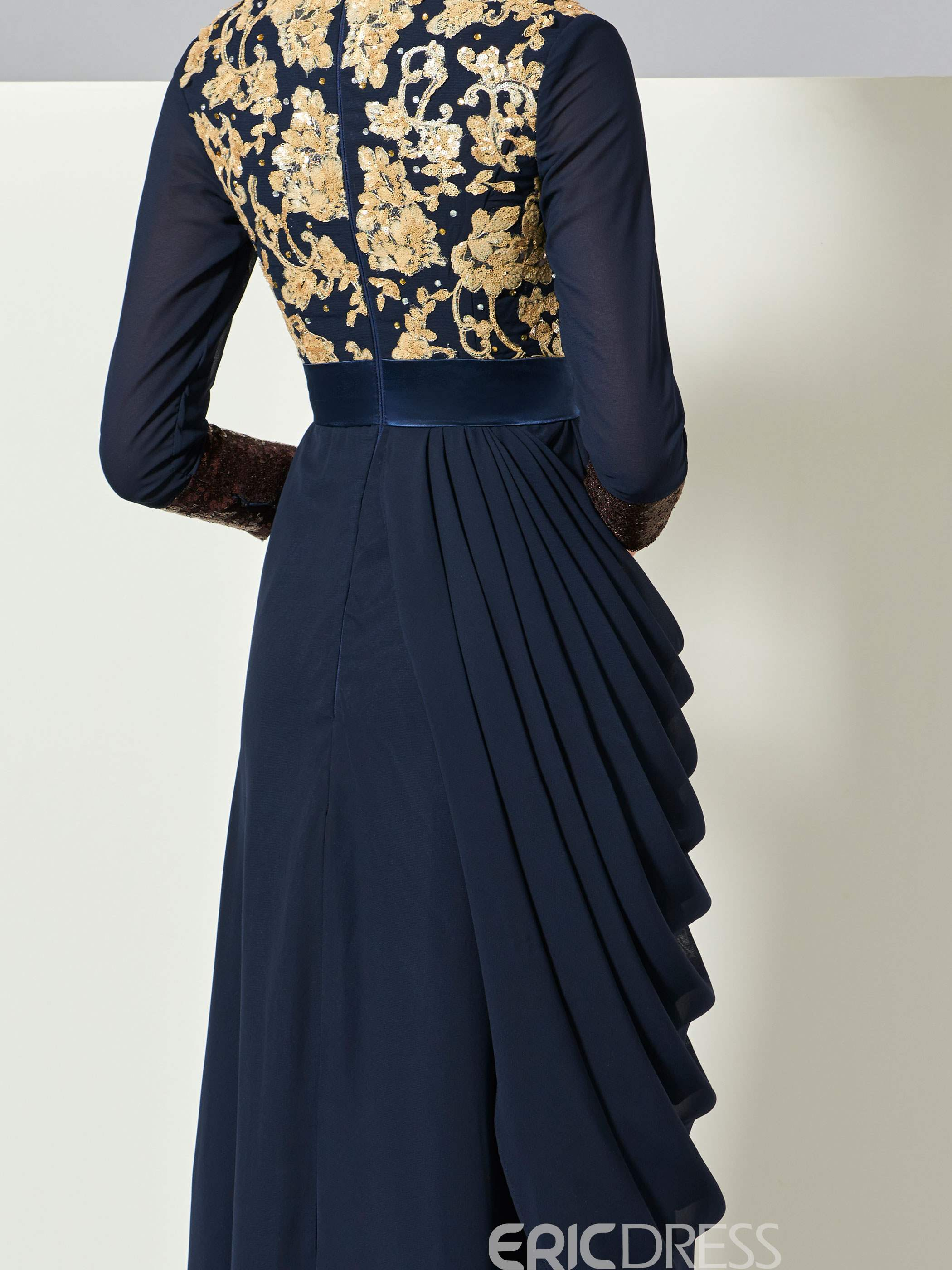 Ericdress Arabic Style A Line Long Sleeve Applique Lace Evening Dress