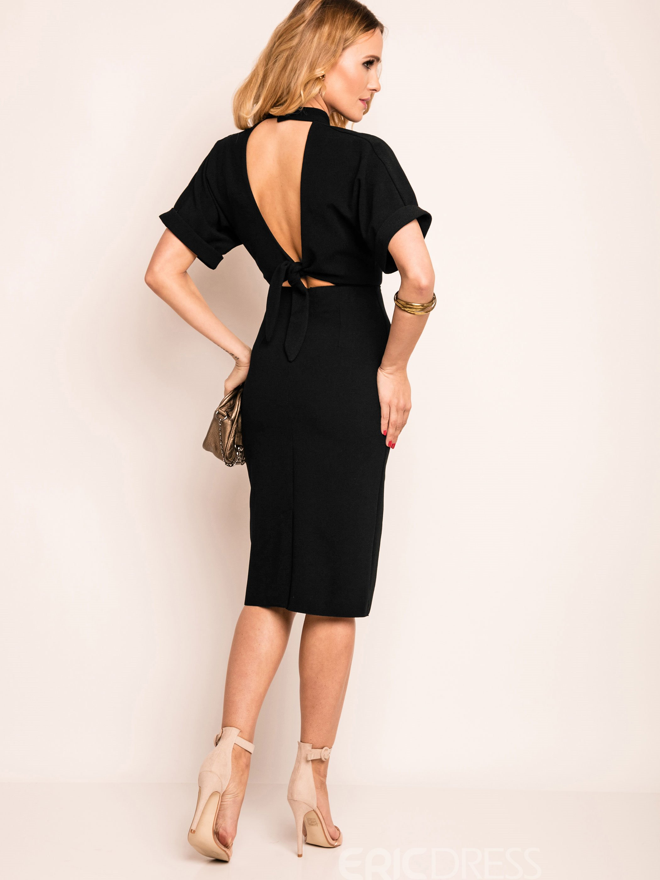 Ericdress Plain Backless Stand Collar Sheath Dress
