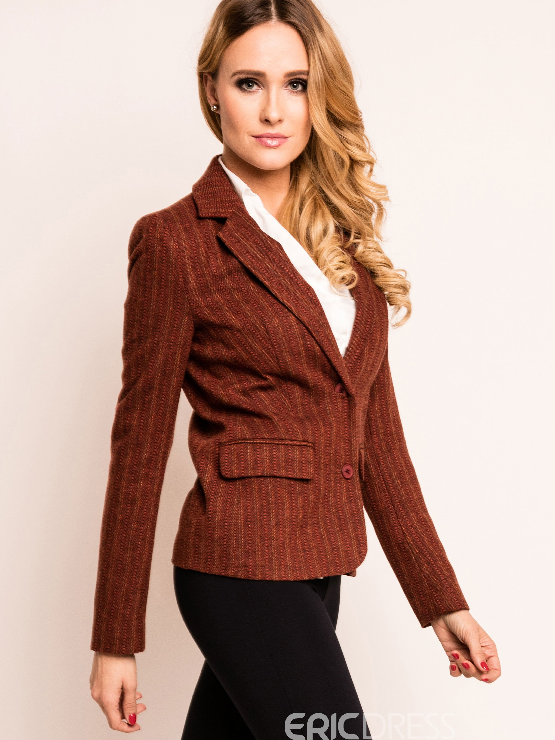 Ericdress Stripped Pocket Slim Blazer