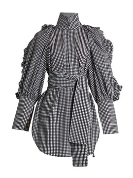 Ericdress Turtle Neck Falbala Plaid Belt Tunic Blouse