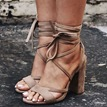 Ericdress Brown Cross Strap Chunky Sandals