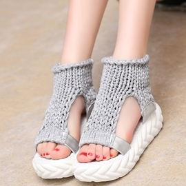Ericdress Cozy Handmade Kintting Open Toe Flat Sandals