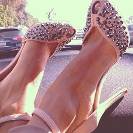 Ericdress Delicate Pink Rivets Decorated Stiletto Sandals