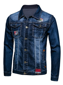 Ericdress Single-Breasted Embroidery Denim Casual Men's Jacket